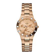 Buy Guess W16017L1 Gee-Lite Women's Stone Set Chronograph Watch, Rose Gold Online at johnlewis.com