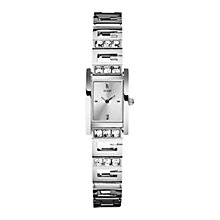 Buy Guess W85119L1 Gee-Lite Women's Stone Set Rectangular Watch, Silver Online at johnlewis.com