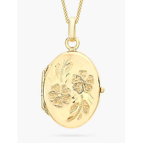 Buy IBB 9ct Yellow Gold Daisy Oval Locket Pendant Necklace, Gold Online at johnlewis.com