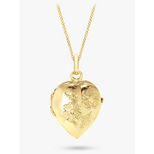 Buy John Lewis 9ct Yellow Gold Heart Daisy Locket Curb Chain Necklace Online at johnlewis.com