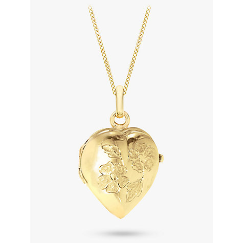 Buy IBB 9ct Yellow Gold Heart Daisy Locket Curb Chain Necklace, Gold Online at johnlewis.com