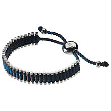 Buy Links of London Sterling Silver Adjustable Friendship Bracelet, Grey / Teal Online at johnlewis.com