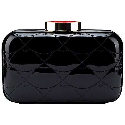 Buy Lulu Guinness Fifi Leather Clutch Handbag, Black Online at johnlewis.com