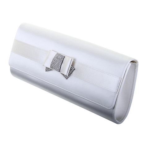 Buy Rainbow Club Doria Diamanté Bow Satin Clutch Handbag, Ivory Online at johnlewis.com