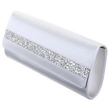 Buy Rainbow Club Emmy Silver Glitter Trim Satin Clutch Handbag, Ivory Online at johnlewis.com