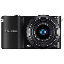 "Buy Samsung NX1000 Compact System Camera with 20-50mm Lens, HD 1080p, 20.3MP, Wi-Fi, 3"" Screen, Black Online at johnlewis.com"