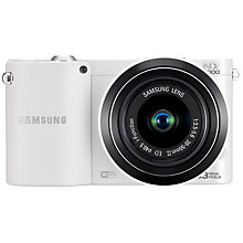 "Buy Samsung NX1000 Compact System Camera with 20-50mm Lens, HD 1080p, 20.3MP, Wi-Fi, 3"" Screen, White Online at johnlewis.com"