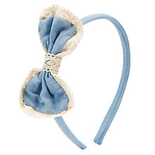 Buy John Lewis Girl Chambray and Lace Bow Alice Band, Blue Online at johnlewis.com