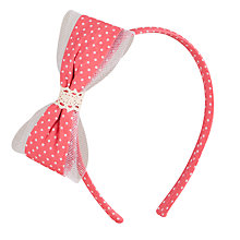 Buy John Lewis Girl Polka Dot Net Bow Alice Band, Coral Online at johnlewis.com