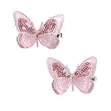 Buy John Lewis Girl Organza Butterfly Hair Clips, Pack of 2, Pink Online at johnlewis.com