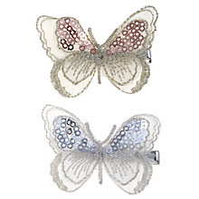 Buy John Lewis Girl Organza Butterfly Hair Clips, Pack of 2, White Online at johnlewis.com