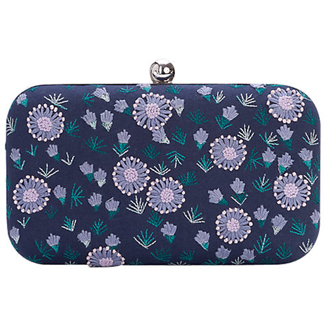 Buy French Connection Flower Box Clutch, Blue Blood Online at johnlewis.com