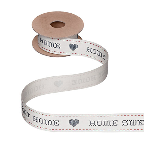 Buy John Lewis Home Sweet Home Ribbon, 5m, Black and White Online at johnlewis.com
