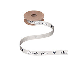 Buy John Lewis Thank You Ribbon, Cream/Blue, 5m Online at johnlewis.com