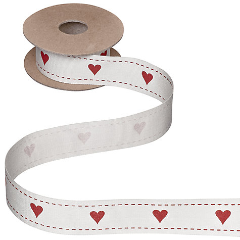 Buy John Lewis Love Hearts Ribbon, 5m, Cream/Red Online at johnlewis.com
