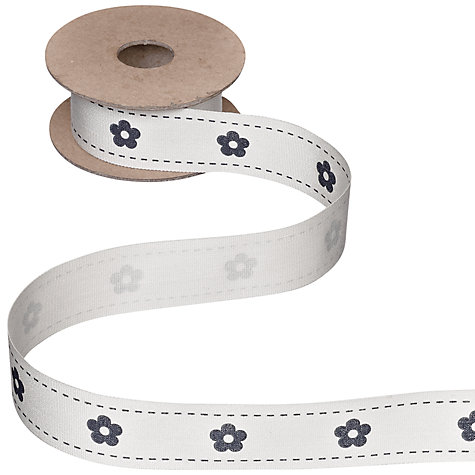 Buy John Lewis Flower Ribbon, 5m, Cream/Blue Online at johnlewis.com