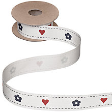 Buy John Lewis Hearts and Flowers Ribbon, 5m, Cream/Red/Blue Online at johnlewis.com