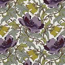 Buy John Lewis Deco Tulip Fabric, Amethyst Online at johnlewis.com