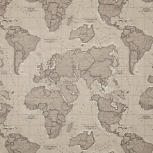 Buy John Lewis World Map John Lewis World Map Teflon Coated Tablecloth Fabric, Mocha Online at johnlewis.com