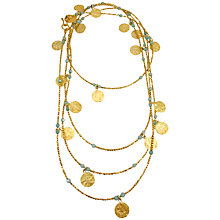 Buy Azuni 24ct Gold Plate Long Coin Statement Necklace Online at johnlewis.com