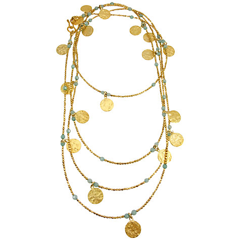 Buy Azuni 24ct Gold Plated Long Coin Statement Necklace, Gold/Aqua Chalcedony Online at johnlewis.com