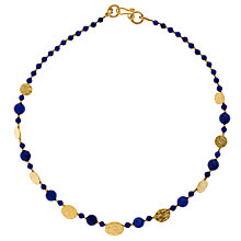 Buy Azuni Cleo 24ct Gold Plate Coin Necklace, Blue Online at johnlewis.com