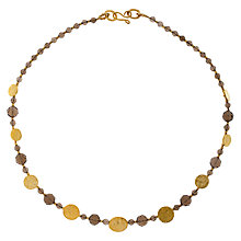 Buy Azuni Cleo 24ct Gold Plate Coin Smoky Quartz Necklace Online at johnlewis.com