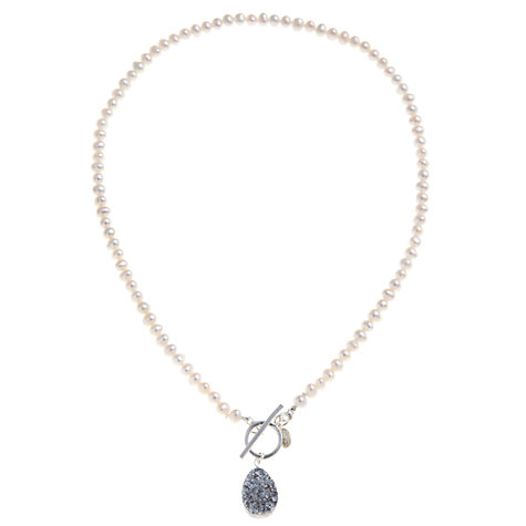 Buy Claudia Bradby Sterling Silver Pearl and Druzy Quartz Necklace, White Online at johnlewis.com