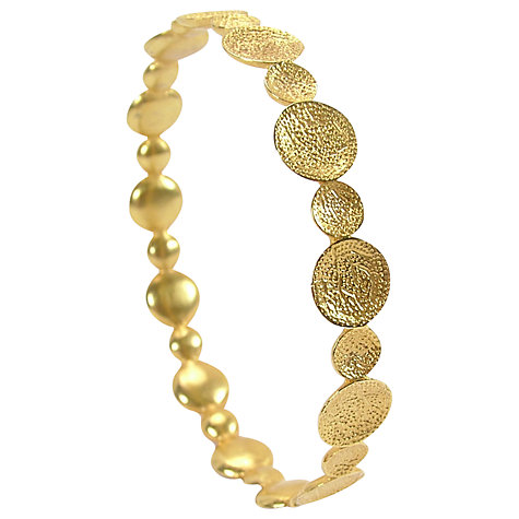 Buy Azuni Luna 24ct Gold Plated Disc Bangle Online at johnlewis.com