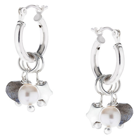 Buy Claudia Bradby Labradorite, Pearl and Star Charm Silver Hoop Earrings Online at johnlewis.com