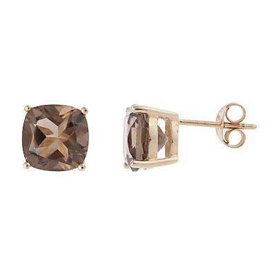 A B Davis 9ct Gold Cushion Cut Smoky Quartz Stud Earrings