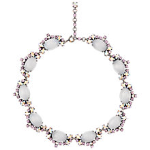 Buy Eclectica 1950s White Glass Cabochon Oval and Rhinestone Border Necklace Online at johnlewis.com