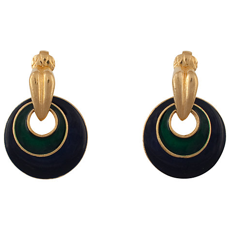 Buy Eclectica 1970s Florenza Gold Plate and Enamel Round Earrings, Green / Navy Online at johnlewis.com