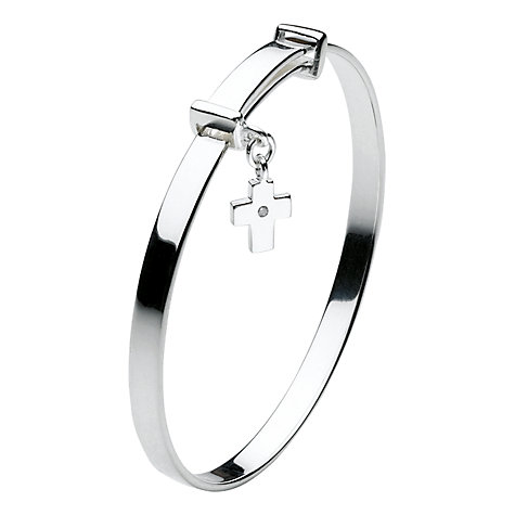 Buy Kit Heath Girls Dinky Cross Sterling Silver Expanding Bangle, Silver Online at johnlewis.com