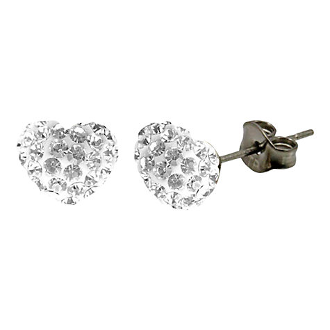 Buy Tresor Paris Crystal Heart Titanium Stud Earrings Online at johnlewis.com