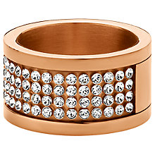 Buy Dyrberg/Kern Emily Rose Gold Swarovski Crystal Multi Row Ring, Size I Online at johnlewis.com