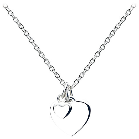 Buy Sterling Silver Christening Silver Heart Pendant Necklace Online at johnlewis.com