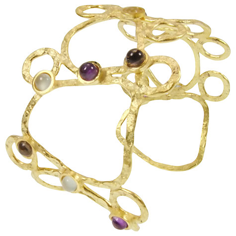 Buy Azuni 24ct Gold Plate Multi Stone Hammered Cuff Online at johnlewis.com