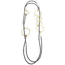 Buy Azuni Long Hematite Gold Ring Necklace, Black Online at johnlewis.com