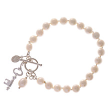 Buy Claudia Bradby Sterling Silver Small Key and Charm Bracelet, White Online at johnlewis.com
