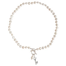 Buy Claudia Bradby Small Key Charm Pearl Necklace, White Online at johnlewis.com