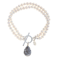 Buy Claudia Bradby Sterling Silver Pearl and Druzy Quartz Bracelet, White Online at johnlewis.com