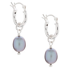 Buy Claudia Bradby Molten Silver Pearl Hoop Drop Earrings Online at johnlewis.com
