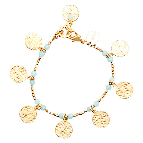 Buy Azuni Cleo 24ct Gold Plate Coin Bracelet, Blue Online at johnlewis.com