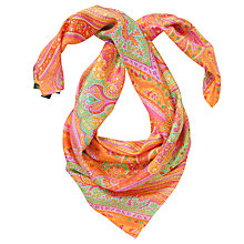 Buy Lauren by Ralph Lauren Kim Paisley Print Silk Square, Orange Online at johnlewis.com