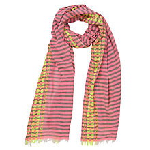 Buy Collection WEEKEND by John Lewis Centex Embroidery Edge Stripe Scarf, Pink Online at johnlewis.com