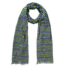 Buy Collection WEEKEND by John Lewis Tribal Feather Print Cotton Scarf, Blue Online at johnlewis.com