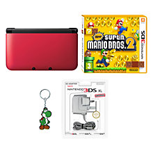 Buy Nintendo 3DS XL, Red with New Super Mario Bros. 2, Adapter & Yoshi Keyring Online at johnlewis.com