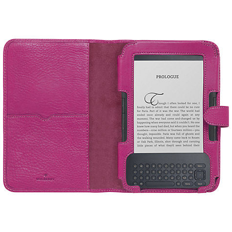 Buy Mulberry Leather Case for Kindle Keyboard, Pink Online at johnlewis.com