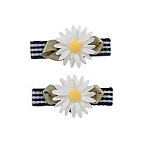 Buy John Lewis Girl Stripey Daisy Hair Clips, White/Blue Online at johnlewis.com